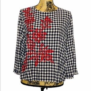 Current Air Blue Plaid Red Floral Embroidered Top